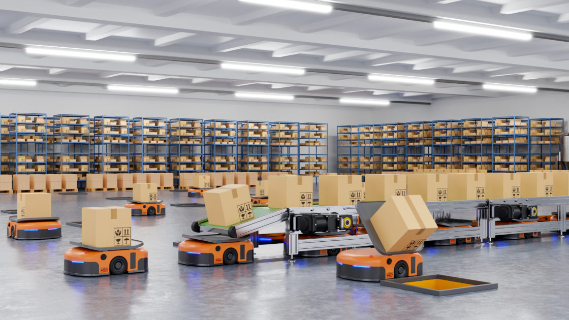 Robots efficiently sorting hundreds of parcels per hour(Automated guided vehicle) AGV.